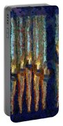 Abstract Blue And Gold Organ Pipes Portable Battery Charger