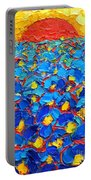 Abstract Blue Poppies In Sunrise -original Oil Painting Portable Battery Charger