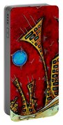 Abstract City Cityscape Art Original Painting Stand Tall By Madart Portable Battery Charger