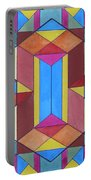 Abstract Colorful Stained Glass Window Design  Portable Battery Charger
