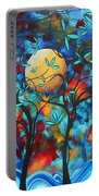 Abstract Contemporary Colorful Landscape Painting Lovers Moon By Madart Portable Battery Charger