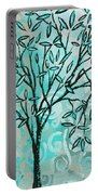Abstract Floral Birds Landscape Painting Bird Haven II By Megan Duncanson Portable Battery Charger