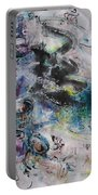 Abstract Flower Field Painting Blue Pink Green Purple Black Landscape Painting Modern Acrylic Pastel Portable Battery Charger