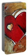 Abstract Heart Original Painting Valentines Day Heart Beat By Madart Portable Battery Charger