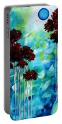 Abstract Landscape Art Original Tree And Moon Painting Blue Moon By Madart Portable Battery Charger