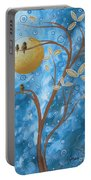 Abstract Landscape Bird Painting Original Art Blue Steel 1 By Megan Duncanson Portable Battery Charger