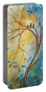 Abstract Landscape Bird Painting Original Art Blue Steel 2 By Megan Duncanson Portable Battery Charger