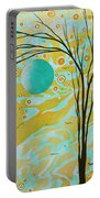 Abstract Landscape Painting Animal Print Pattern Moon And Tree By Madart Portable Battery Charger