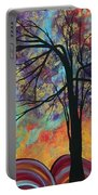 Abstract Landscape Tree Art Colorful Gold Textured Original Painting Colorful Inspiration By Madart Portable Battery Charger