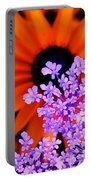 Abstract Orange And Purple Flower Portable Battery Charger