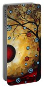 Abstract Original Gold Textured Painting Frosted Gold By Madart Portable Battery Charger