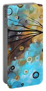 Abstract Painting Chocolate Brown Whimsical Landscape Art Baby Blues By Madart Portable Battery Charger
