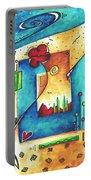 Abstract Pop Art Landscape Floral Original Painting Joyful World By Madart Portable Battery Charger