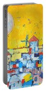 Abstract Santorini - Oia Before Sunset Portable Battery Charger by Ana Maria Edulescu