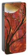 Abstract Wood Pattern Painting Original Landscape Art Moon Tree By Megan Duncanson Portable Battery Charger