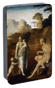Adam And Eve With Cain And Abel Portable Battery Charger
