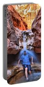 Adam Jewell At Capitol Reef Shower And Laundromat Portable Battery Charger by Adam Jewell