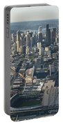 Aerial View Of Seattle Skyline With The Pro Sports Stadiums Portable Battery Charger