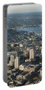 Aerial View Of Space Needle And Lake Union Portable Battery Charger