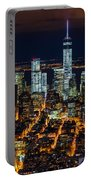 Aerial View Of The Lower Manhattan Skyscrapers By Night Portable Battery Charger