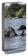 African Elephants Swimming In The Chobe River Portable Battery Charger
