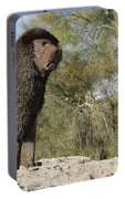 African Lion Sculpture Detail Portable Battery Charger