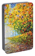 After Rain Autumn Reflections Acrylic Palette Knife Painting Portable Battery Charger