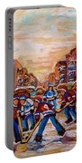 After School Winter Fun Street Hockey Paintings Of Montreal City Scenes Carole Spandau Portable Battery Charger