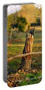 Afternoon Orange Gold Glow On Old Broken Fence Portable Battery Charger