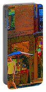Afternoon Stroll French Bistro Sidewalk Cafe Colors Of Montreal Flags And Umbrellas City Scene Art Portable Battery Charger