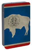 Aged Wyoming State Flag Portable Battery Charger