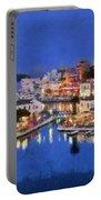 Painting Of Agios Nikolaos City Portable Battery Charger