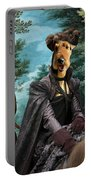 Airedale Terrier Art Canvas Print - Forest Landscape With Deer Hunting And Noble Lady Portable Battery Charger