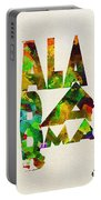 Alabama Typographic Watercolor Map Portable Battery Charger