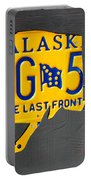Alaska License Plate Map Artwork Portable Battery Charger