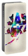 Alaska Typographic Watercolor Map Portable Battery Charger
