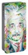 Albert Einstein Watercolor Portrait.1 Portable Battery Charger