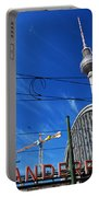 Alexanderplatz Sign And Television Tower Berlin Germany Portable Battery Charger