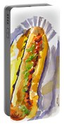 All Beef Ballpark Hot Dog With The Works To Go In Broad Daylight Portable Battery Charger by Kip DeVore
