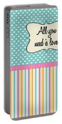 All You Need Is Love In Teal Portable Battery Charger