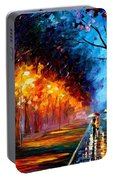 Alley By The Lake 2 - Palette Knife Oil Painting On Canvas By Leonid Afremov Portable Battery Charger