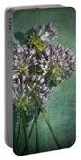 Allium Wildflower With Grunge Textures Portable Battery Charger