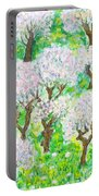 Almond Trees And Leaves Portable Battery Charger