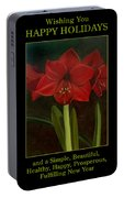 Amaryllis Flower Holiday Card Portable Battery Charger