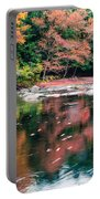 Amazing Fall Foliage Along A River In New England Portable Battery Charger