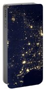 America At Night Portable Battery Charger by Adam Romanowicz