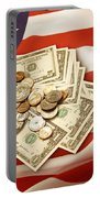 American Currency  Portable Battery Charger by Les Cunliffe