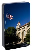 American Flag And Hoover Tower Stanford University Portable Battery Charger