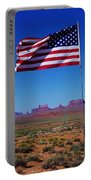 American Flag In Monument Valley Portable Battery Charger