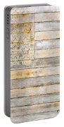American Flag On Distressed Wood Beams White Yellow Gray And Brown Flag Portable Battery Charger